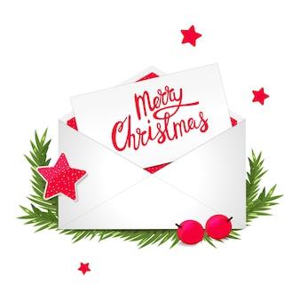Weihnachtsglückwunschpostkarte in den umschlägen. feiertagsdekoration