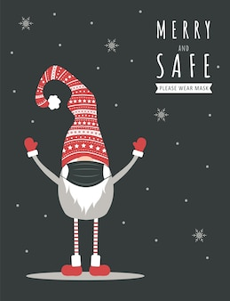 Weihnachtsgnom trägt eine schützende gesichtsmaske gegen coronavirus. neujahrsgrußkarte mit zitat merry and safe.