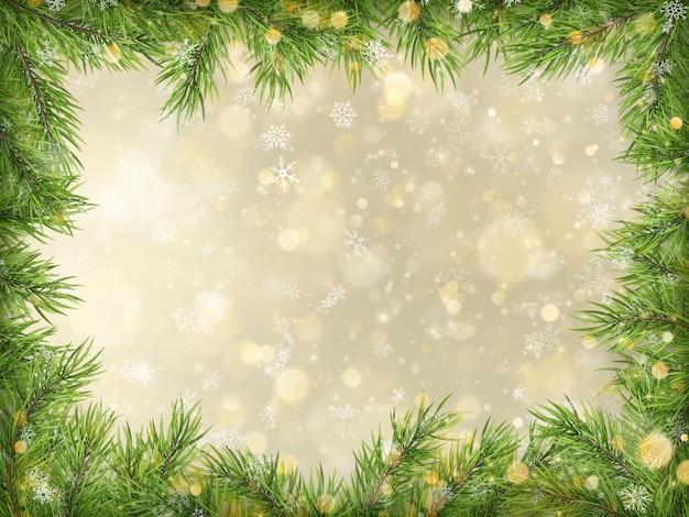 Weihnachtsgoldbokeh mit baumzweigrahmenhintergrund.