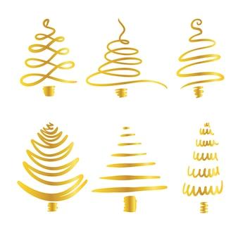 Weihnachtsgoldene glänzende vektorillustrationen des linearen weihnachtsbaums