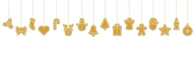 Weihnachtsgoldene verzierungsikonenelemente, die hintergrund hängen