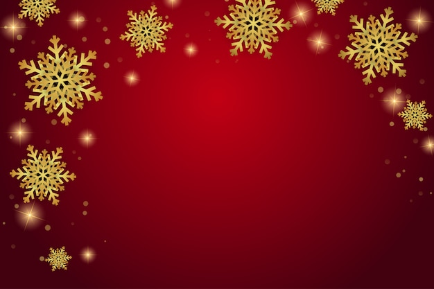 Weihnachtsgoldener schnee auf rotem exklusivem hintergrund
