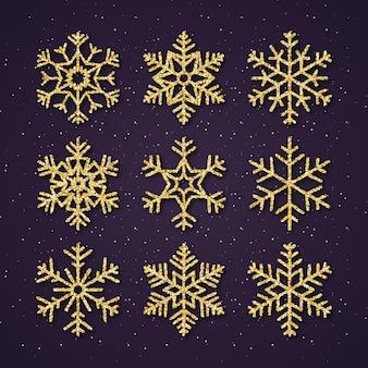 Weihnachtsgoldflitter-schneeflocken eingestellt.