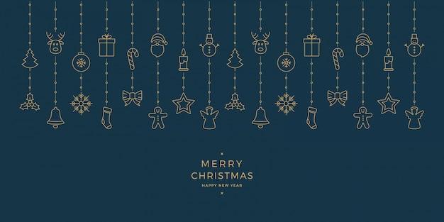 Weihnachtsgoldikonenelemente, die blauen hintergrund hängen