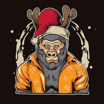 Weihnachtsgorilla-karikatur