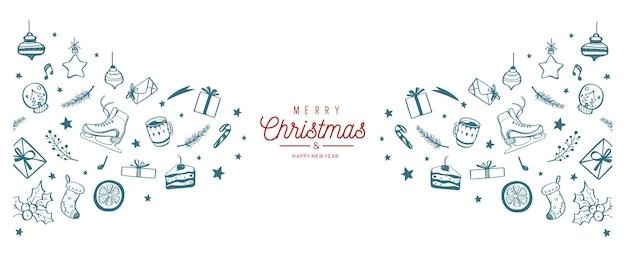 Weihnachtsgrenze mit festlichen gekritzelverzierungen