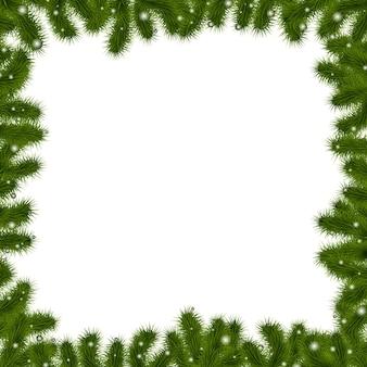 Weihnachtsgrenze mit neujahrsbaum, lokalisiert auf weißem hintergrund