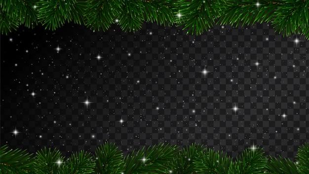Weihnachtsgrenze mit tannenbaumasten und -schnee