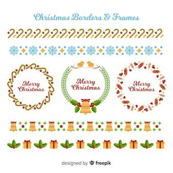 Weihnachtsgrenzen und rahmen
