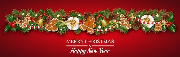Weihnachtsgrenzgirlandendekorationen mit lebkuchenplätzchen