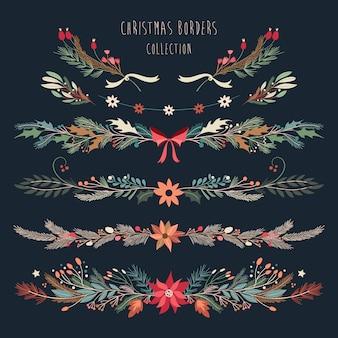 Weihnachtsgrenzsammlung mit dekorativer hand gezeichneten saisonblumen und -anlagen
