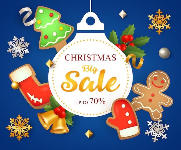 Weihnachtsgroßer verkauf mit dekoration und plätzchen