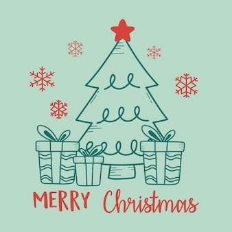 Weihnachtsgrün mit baum und geschenkboxenillustration