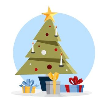 Weihnachtsgrüner baum mit geschenkboxen herum