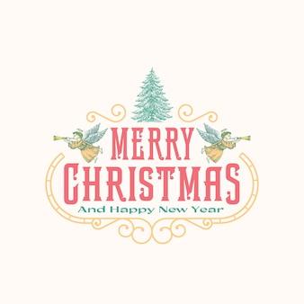 Weihnachtsgrüße abstrakte vektor-retro-rahmen-label, zeichen oder logo-vorlage. bunte hand gezeichnete fliegende engel und kiefer-skizzen-illustration mit typografie. isoliert.