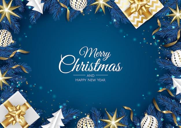 Weihnachtsgrüße. draufsicht geschenkbox, weihnachtsdekoration bälle und geschenkbox