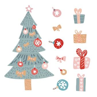 Weihnachtsgrüße eingestellt mit lokalisierten dekorativen wintergegenständen