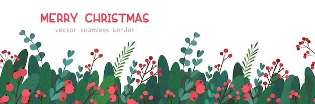 Weihnachtsgrüße mit nahtloser grenze der mistelzweige