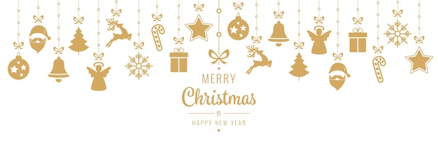 Weihnachtsgruß-goldene verzierungelementhängen getrennt