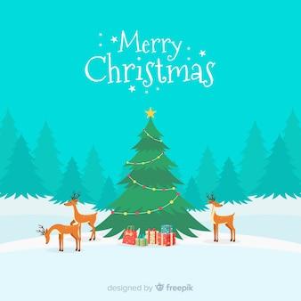 Weihnachtsgruß ilustration rentier-szenenhintergrund
