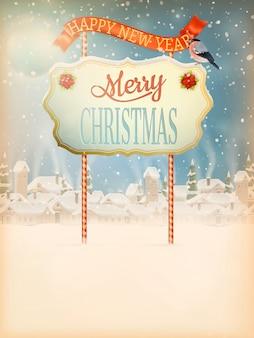 Weihnachtsgruß kalligraphie - vintage straße mit schild.