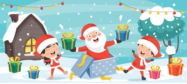 Weihnachtsgruß-karten-design mit zeichentrickfilm-figuren