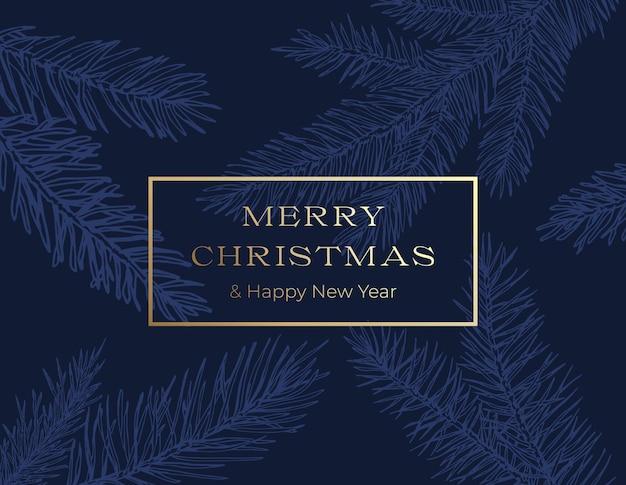 Weihnachtsgruß-karten-layout mit klassischem blauem handgezeichnetem fichte-kiefer-zweig-hintergrund. winterurlaub dekoration aufkleber, cover-karte oder poster.