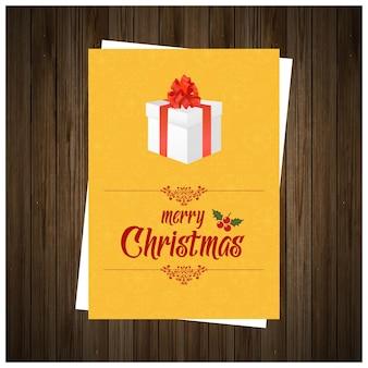 Weihnachtsgruß-kartendesign mit braunem hintergrundvektor