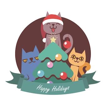 Weihnachtsgruß mit drei lustigen karikaturkatzen