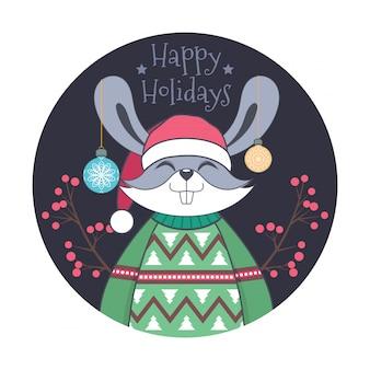 Weihnachtsgruß mit einem niedlichen kaninchen in einer hässlichen strickjacke