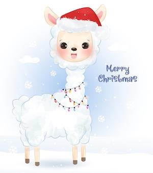 Weihnachtsgruß mit entzückendem lama. weihnachtsillustration.
