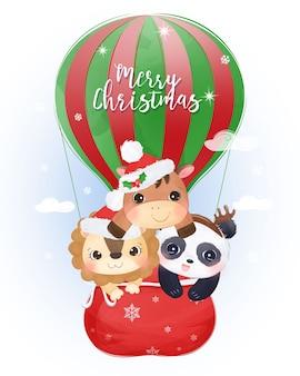 Weihnachtsgruß mit entzückenden tieren, die zusammen fliegen. weihnachtsillustration.