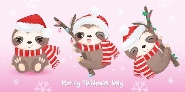 Weihnachtsgruß mit niedlichem babyfaultier. weihnachtsillustration.
