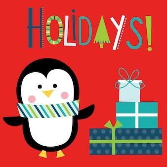 Weihnachtsgruß mit niedlichem pinguin und geschenk