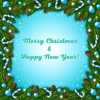 Weihnachtsgruß mit tannenbaumrahmen und zuckerstangen