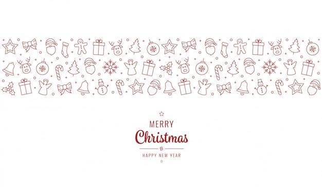 Weihnachtsgruß ornament symbole element banner rot isoliert hintergrund