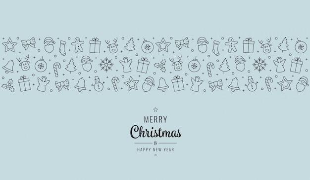 Weihnachtsgruß-schriftzug-symbole-element banner-blauer hintergrund