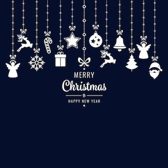 Weihnachtsgruß-verzierungselemente, die blauen hintergrund hängen