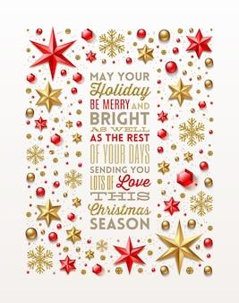 Weihnachtsgrußartentwurf im rahmen, der vom feiertagsdekor gemacht wird