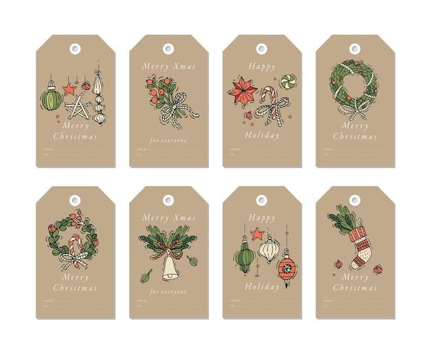 Weihnachtsgrußelemente des linearen entwurfs auf handwerkspapierhintergrund. weihnachtsmarken gesetzt mit typografie und buntem symbol.