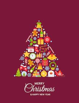 Weihnachtsgrußhintergrund. kreative illustration mit symbolen in baumform.