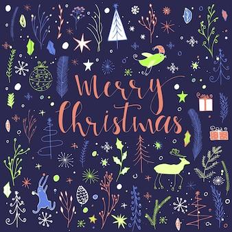 Weihnachtsgrußkarte gemacht im vektor. handgemachte weihnachtselemente mit text für perfekte karten und einladungen. trendiges neujahrsdesign. musterhintergrund