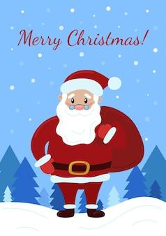 Weihnachtsgrußkarte glücklicher lächelnder weihnachtsmann mit tasche, die auf schnee steht winterferienplakat