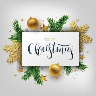 Weihnachtsgrußkarte, hintergrund. gold- und silberweihnachtsball und asttannenbaum. metallische goldene und silberne weihnachtsschneeflocke. hand gezeichnete beschriftung.
