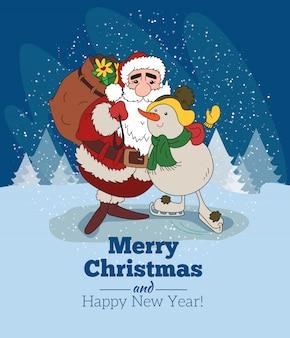 Weihnachtsgrußkarte hintergrund poster. vektor-illustration