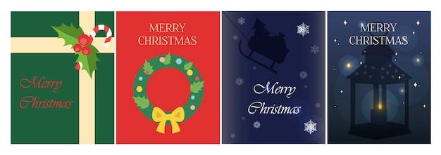 Weihnachtsgrußkarte in flacher, heller illustration mit einem geschenk vom weihnachtsmann und einem weihn...