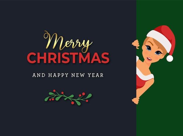 Weihnachtsgrußkarte mit blondem mädchen im weihnachtsmannkostüm