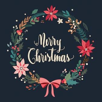 Weihnachtsgrußkarte mit blumenkranz auf schwarzem