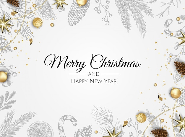 Weihnachtsgrußkarte mit christbaumschmuck