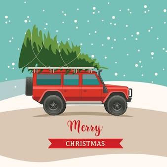 Weihnachtsgrußkarte mit einem auto, das einen weihnachtsbaum trägt